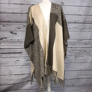 Cream and gray open cardigan poncho style sweater
